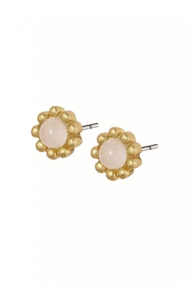 Sence Copenhagen Signature Rose Quartz Flower Stud Earrings in Worn Gold