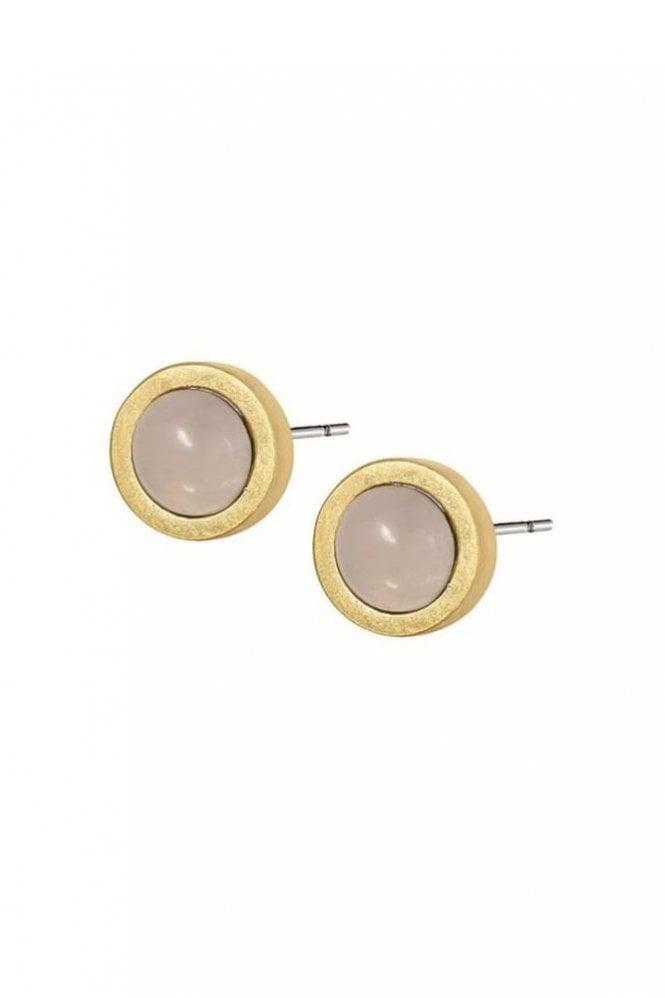 Sence Copenhagen Signature Rose Quartz Stud Earrings in Worn Gold