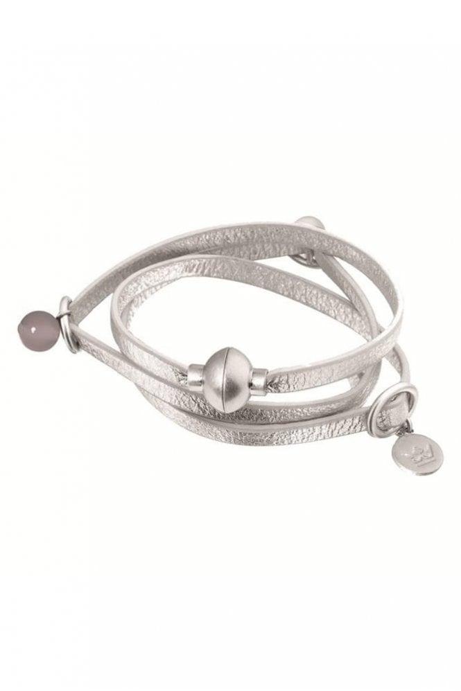 Sence Copenhagen Signature White Jade Leather Bracelet in Worn Silver