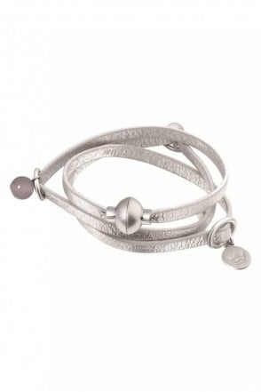 Signature White Jade Leather Bracelet in Worn Silver