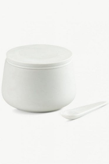 Nordic Porcelain Jar with Spoon Ø9 in White