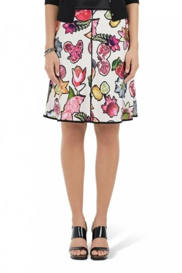 Skirt with Tropical Fruits in Dahlia