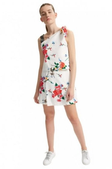 Asymmetric Knotted Floral Dress
