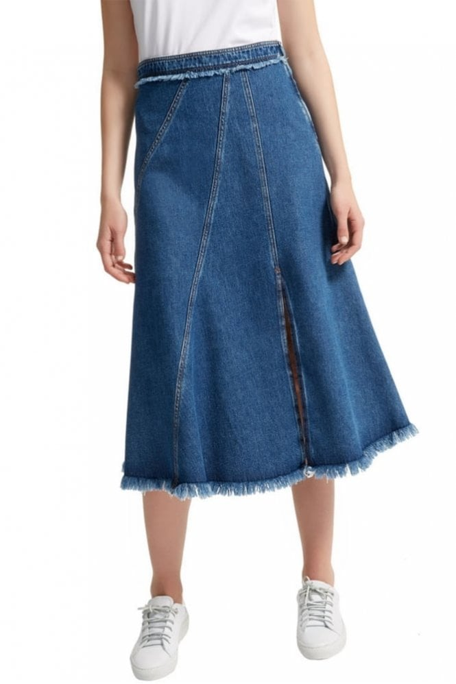 Sportmax Code Frayed Denim Midi Skirt