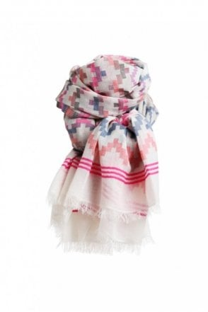 Isa Scarf in Blue and Pink