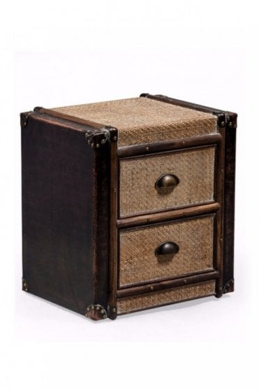 Antique Black and Rattan Brooklyn 2 Drawer Cabinet