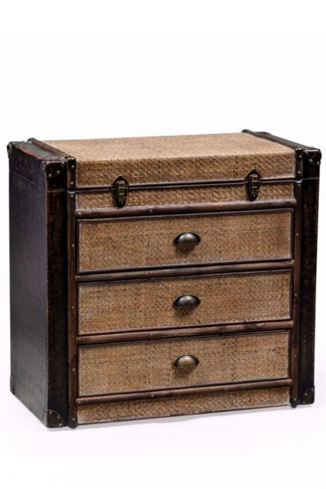 Sue Parkinson Home Collection Antique Black and Rattan Brooklyn Chest of Drawers