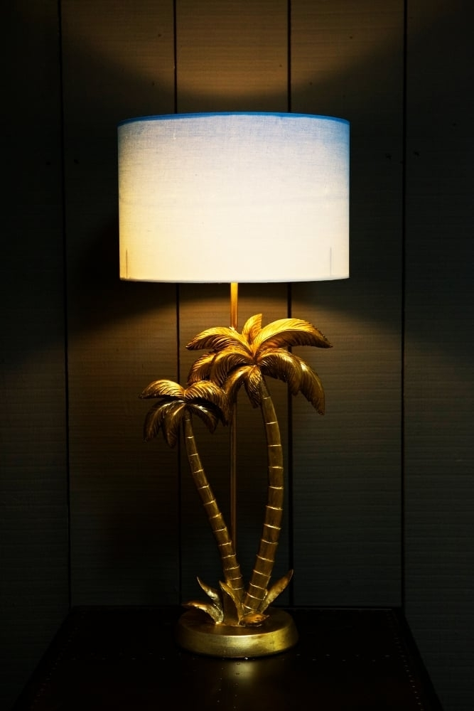 Antique Gold Palm Tree Table Lamp With Blue White Shade