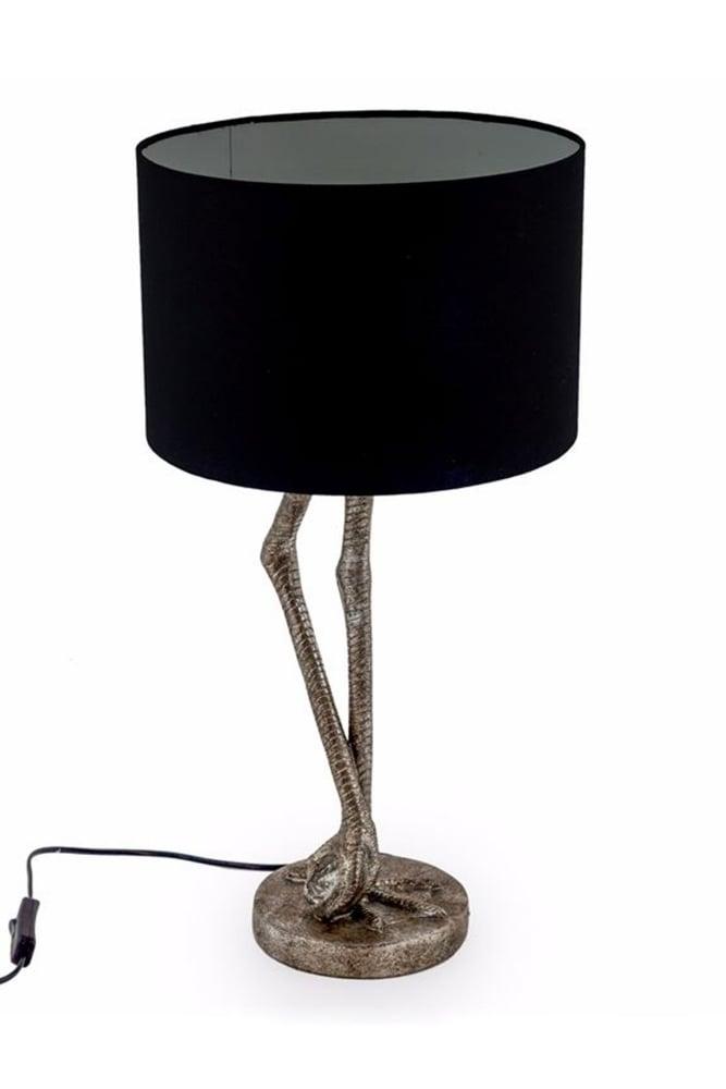 Sue Parkinson Home Collection Antique Silver Flamingo Leg Table Lamp With  Black Shade