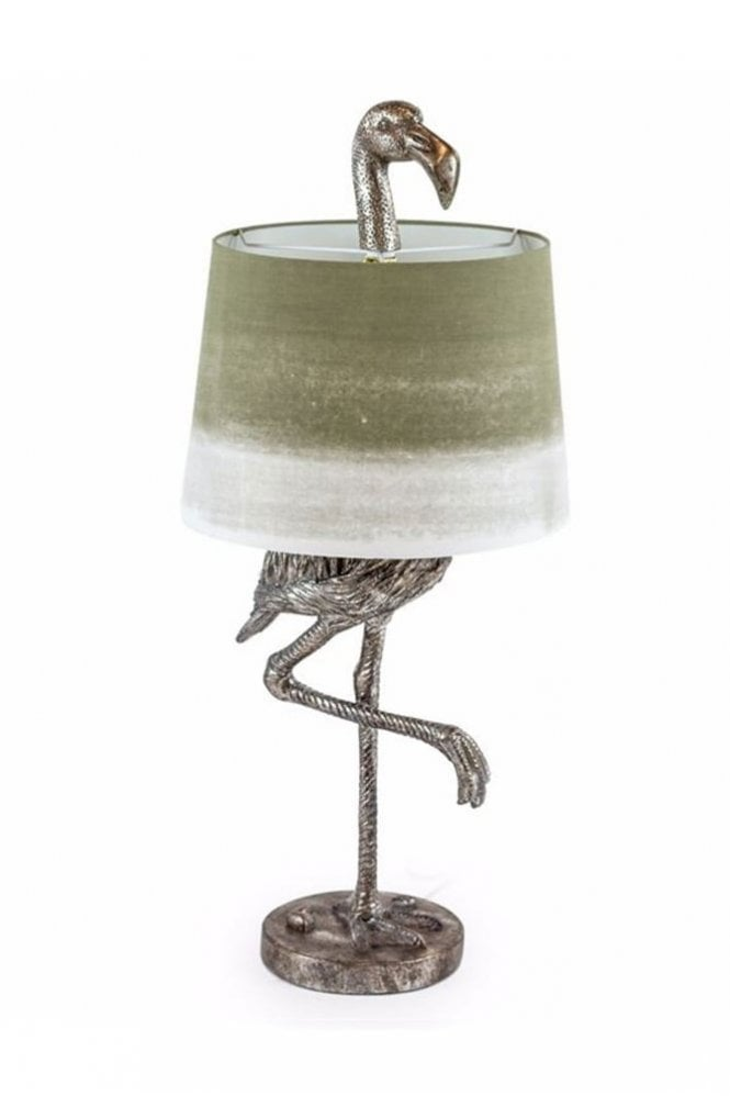 The Home Collection Antique Silver Flamingo Table Lamp with Sage Fade Shade