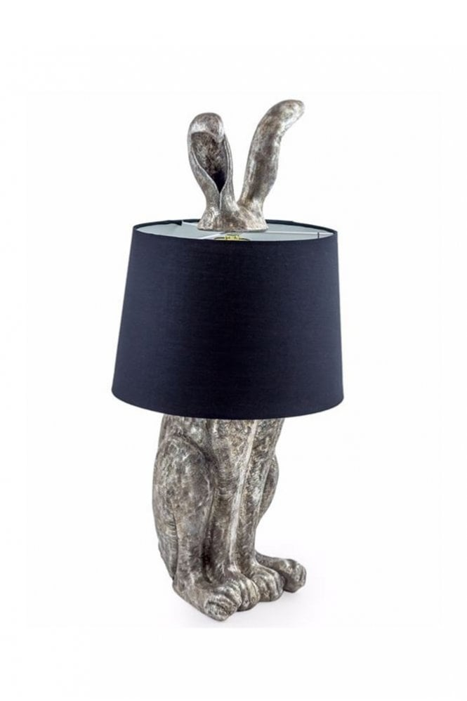 Sue Parkinson Home Collection Antique Silver Rabbit Ears Lamp with Black Shade