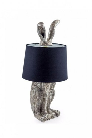 Antique Silver Rabbit Ears Lamp with Black Shade