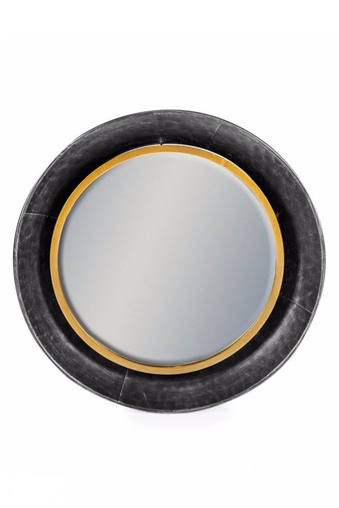 Sue Parkinson Home Collection Black and Bronze Round Lincoln Wall Mirror