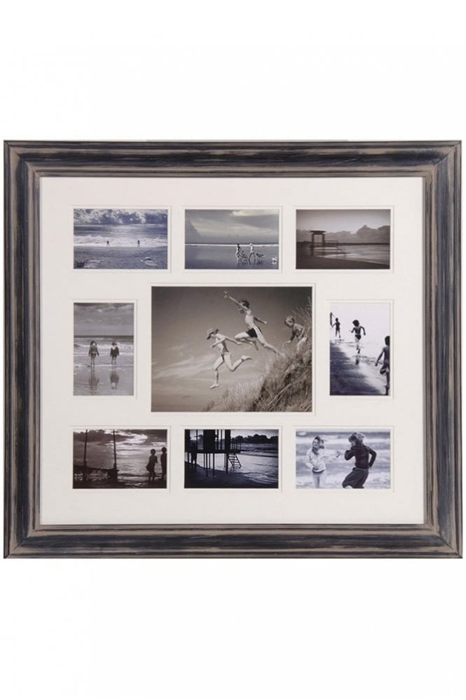 The Home Collection Black Distressed Nine Picture Multiframe