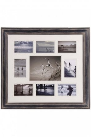 Black Distressed Nine Picture Multiframe