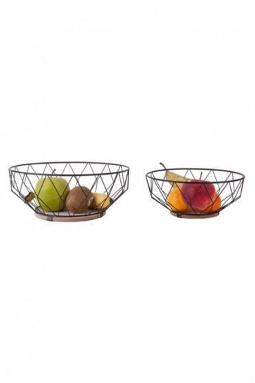 Black Iron and Wood Basket Set