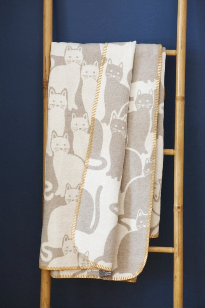 Sue Parkinson Home Collection Cats Blanket in Sand