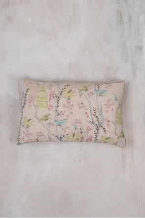 Cotton Embroidered Bird Cage Cushion