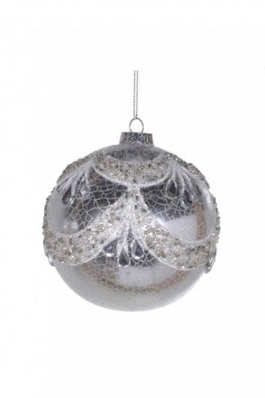Crackle Silver Jewel Bauble