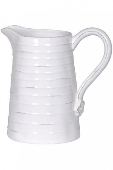 Cream Rustic Ribbed Pitcher