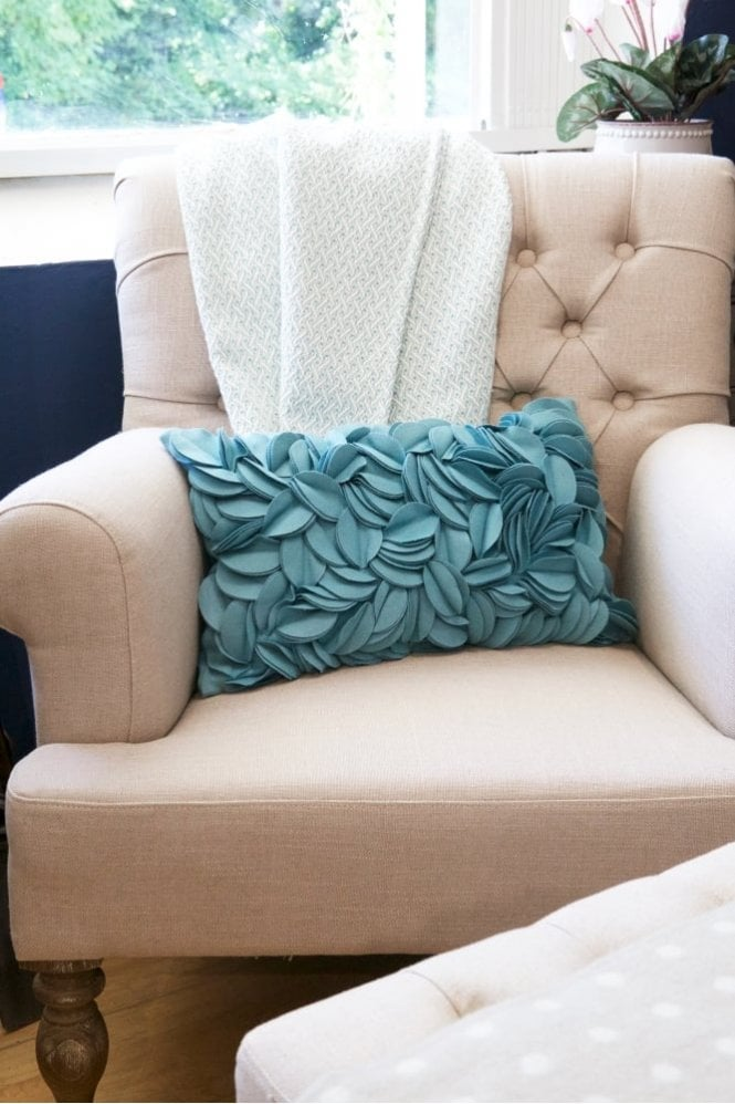 The Home Collection Dorothy Wool Felt Cushion in Turquoise