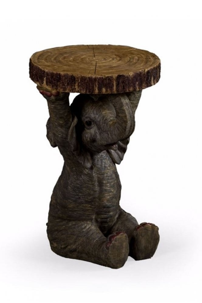 The Home Collection Elephant Holding 'Trunk Slice' Side Table