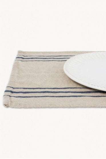 Four Linen Placemats Natural with Navy Stripe