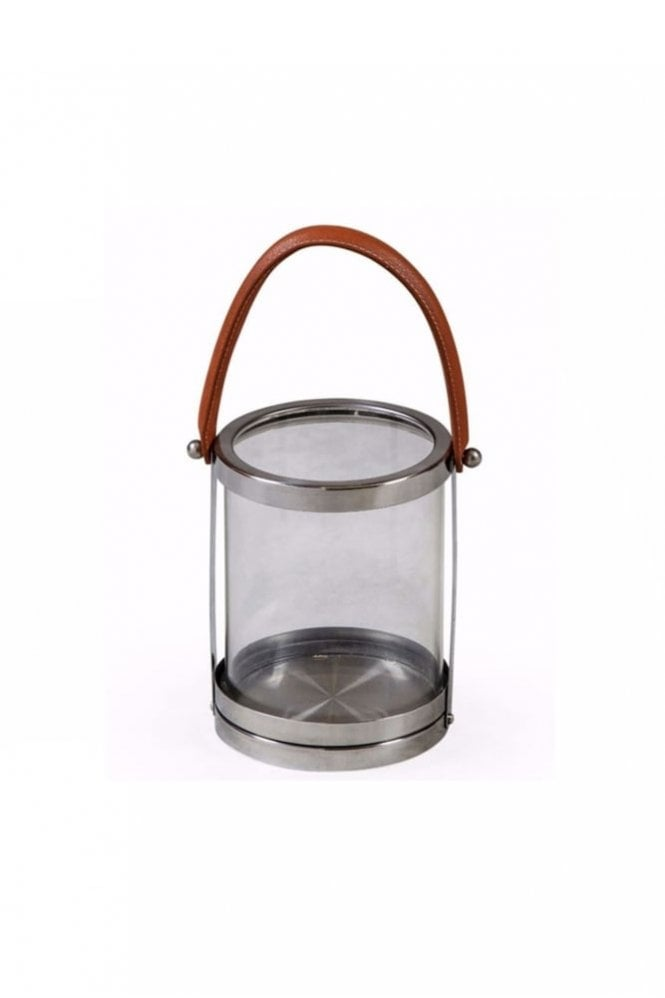 The Home Collection Glass and Stainless Steel 'Leather' Handle Lantern