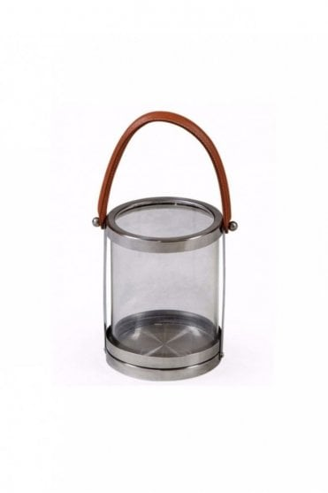 Glass and Stainless Steel 'Leather' Handle Lantern