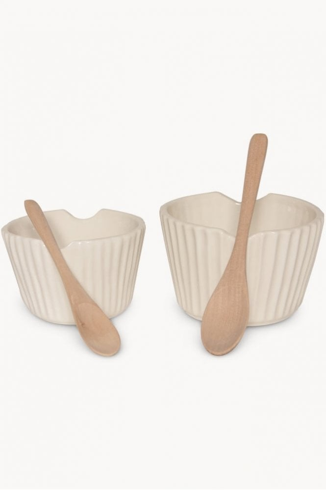 Sue Parkinson Home Collection Goodwood White Ribbed Pot with Spoon
