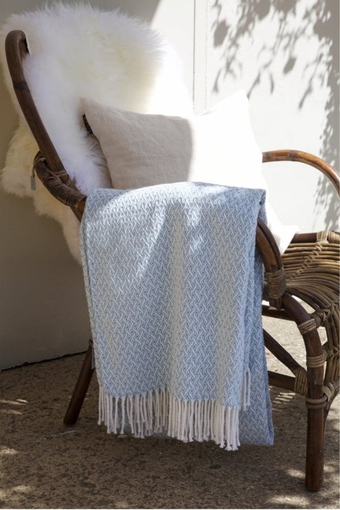 Sue Parkinson Home Collection Madison Blanket in Aqua