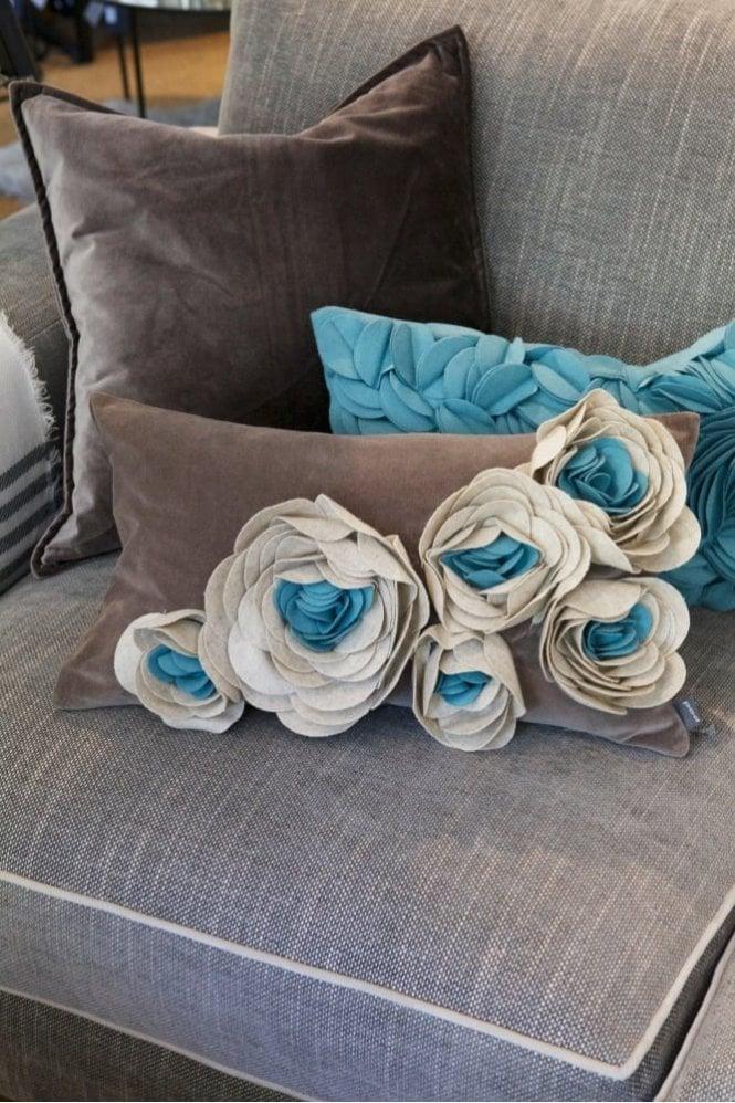 Sue Parkinson Home Collection Magnolia Velvet Felt Cushion in Aqua