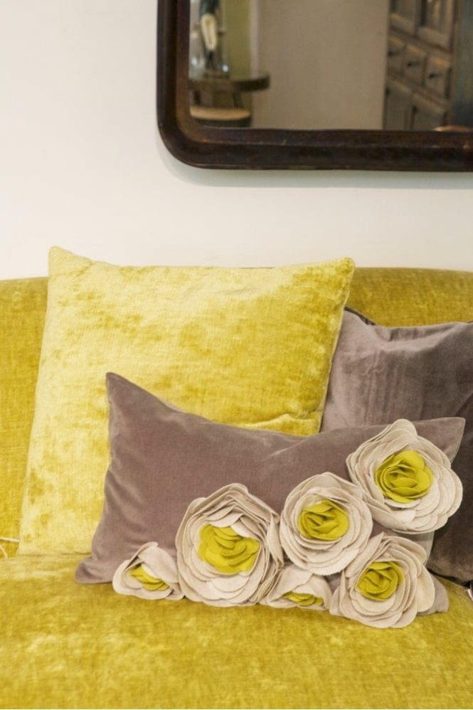The Home Collection Magnolia Velvet Felt Cushion in Mustard