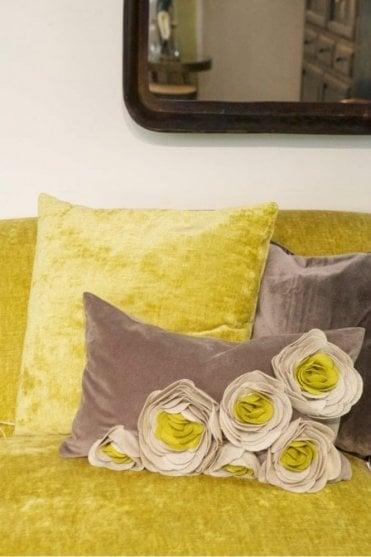 Magnolia Velvet Felt Cushion in Mustard