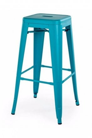 Matt Blue Metal Stacking Stool