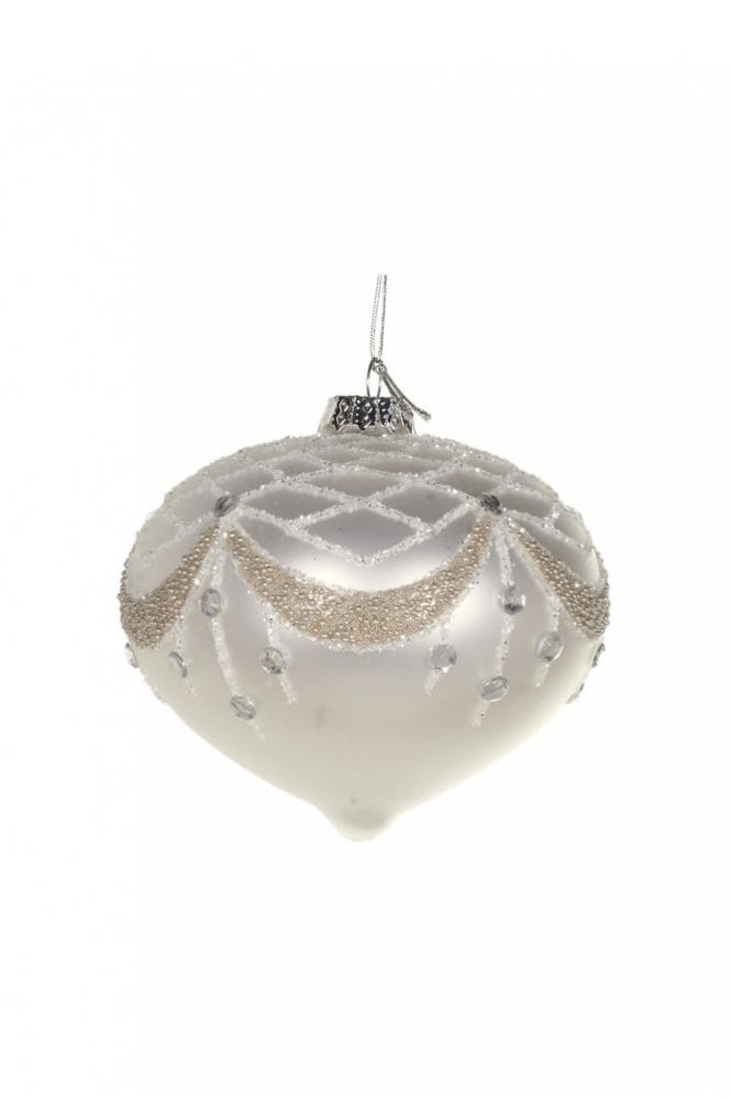 Sue Parkinson Home Collection Matt Ivory Glitter and Beaded Top Onion Bauble