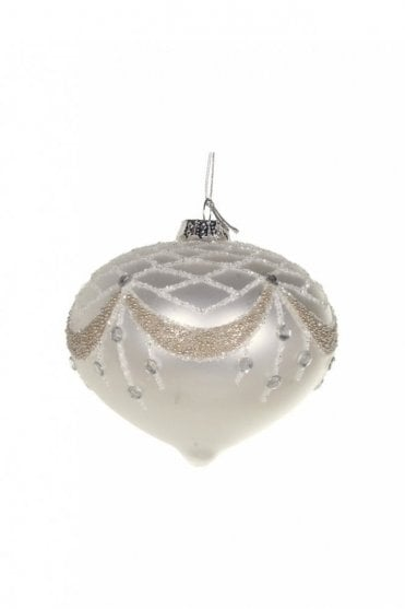 Matt Ivory Glitter and Beaded Top Onion Bauble