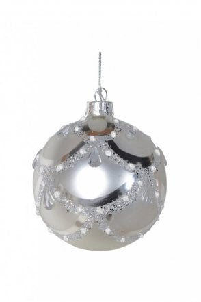 Matt Silver Glitter Jewel Bauble