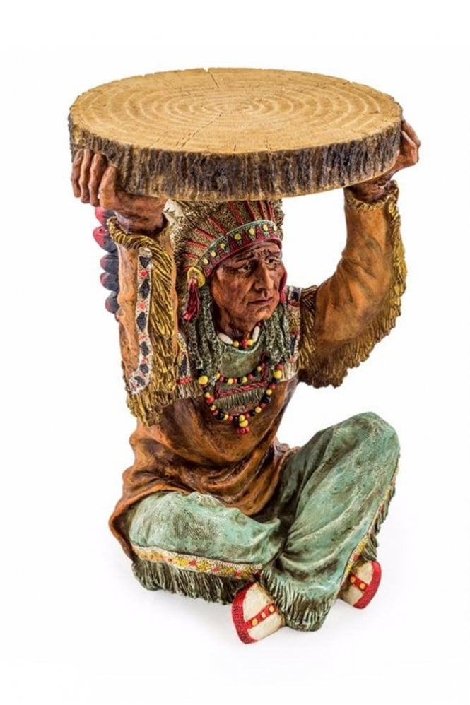 Sue Parkinson Home Collection Native American Chief Holding 'Trunk Slice' Side Table