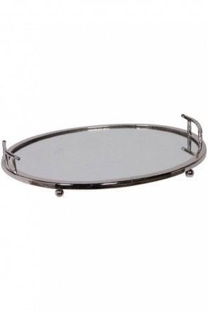 Nickel Finish Oval Mirror Tray