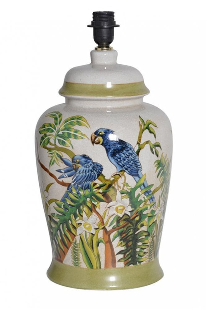 Sue Parkinson Home Collection Parrots with Foliage Lamp