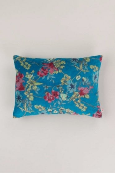 Petrol Floral Velvet Cushion