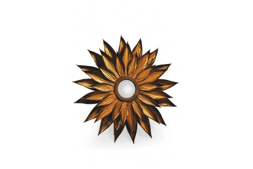 Round Antique Gold Sunflower Mirror