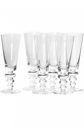 Set Of 6 Bobble Stem Glass Flutes
