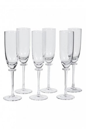 Set of 6 Clear Champagne Flutes
