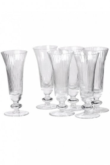 Set Of 6 Ribbed Glass Flutes