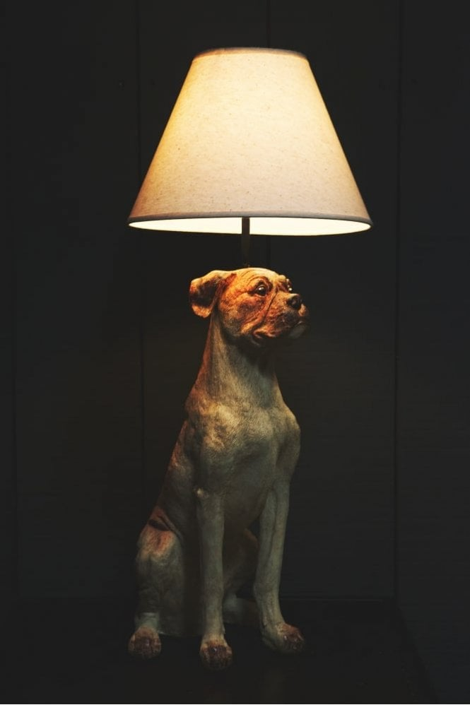 Sue Parkinson Home Collection Sitting Dog Table Lamp with Shade