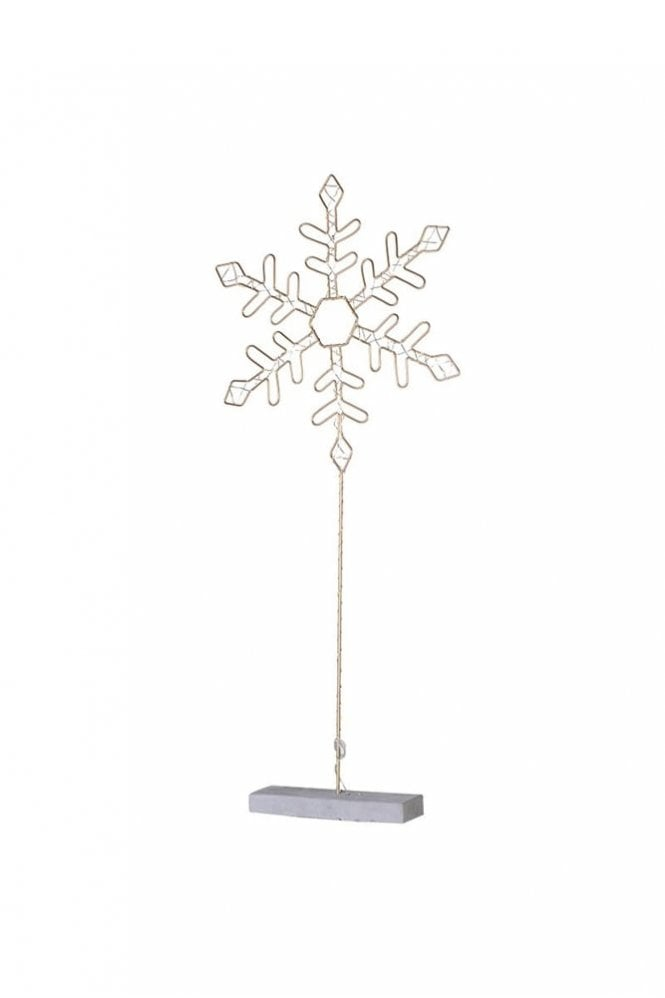 Sue Parkinson Home Collection Small Lit Metal Snowflake with Stand
