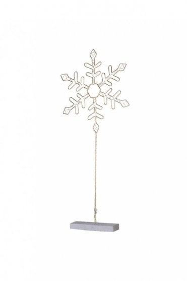 Small Lit Metal Snowflake with Stand