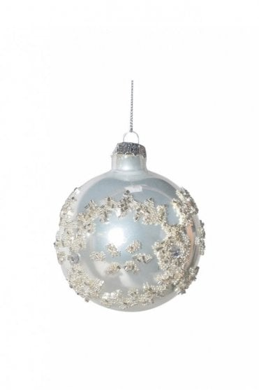 Small White Bauble with Glitter